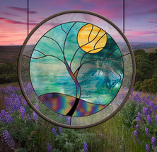 Round Stained Glass Window Blue Teal Rain Tree Yellow teal leaded glass ... - $147.00