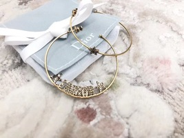 AUTH Christian Dior LIMITED EDITION J'ADIOR CRYSTAL LARGE HOOP EARRINGS GOLD image 2
