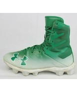 Under Armour highlight RM youth kids football cleats green white laces s... - $21.78