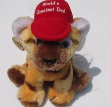 Vintage Russ Berrie Plush Luv-Pets World's Greated Dad tiger cub hat tag... - $9.89