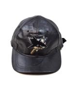 Vtg 90s NHL San Jose SHARKS Hockey Black Leather Baseball Cap Hat Adjust... - $24.74