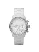 New Michael Kors Runway White Ceramic Glitz Chronograph MK5188 Women's W... - $128.65