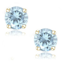 Round Cut Cubic Zirconia Cubic Zirconia 14k YG Over Sterling Silver March Studs - $20.29+
