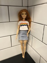 Mattel 2018 Barbie Fashionista #122 Red Hair Green Eyes Rainbow Shirt No... - $11.00