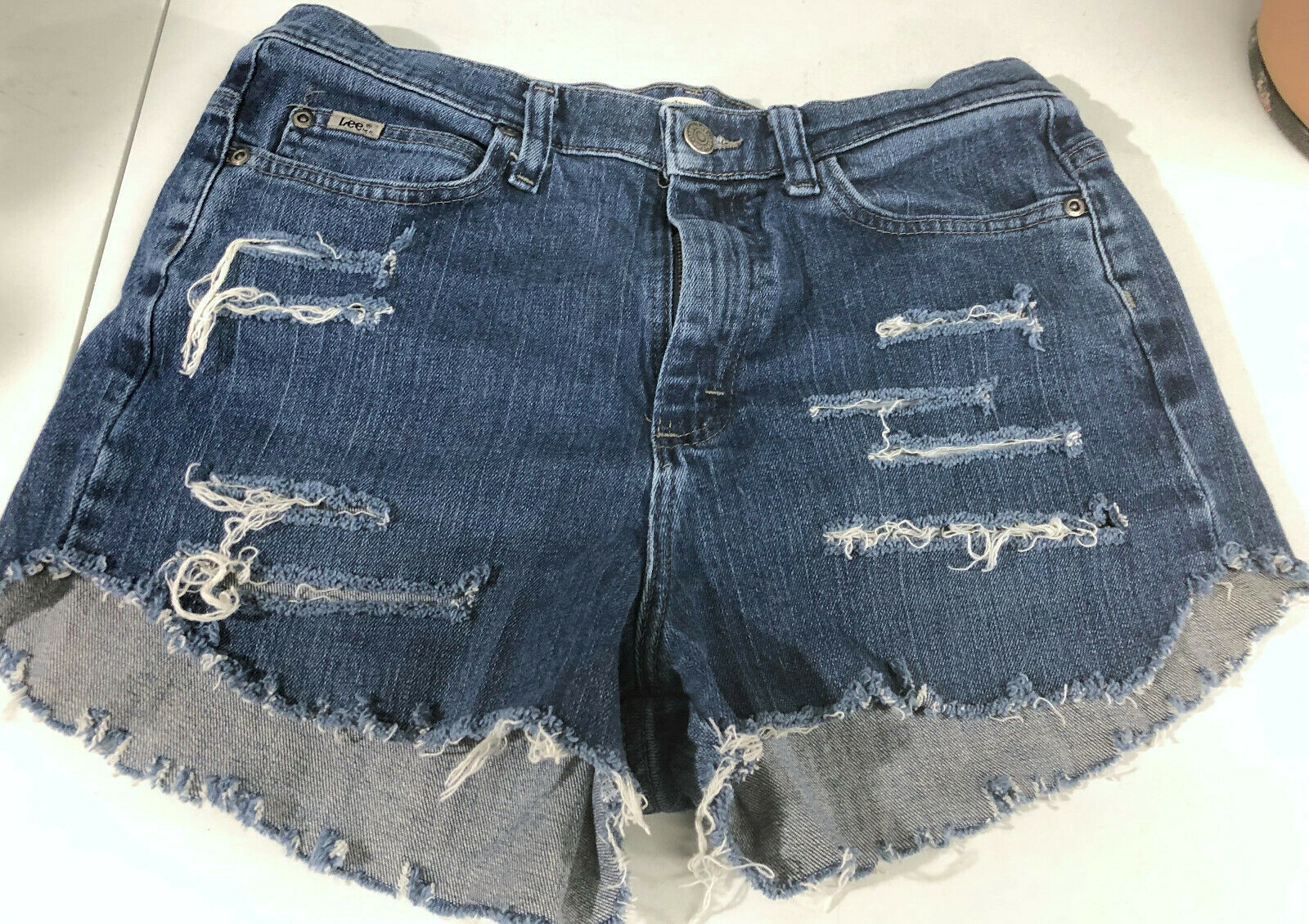 Primary image for Lee Jeans Distressed Blue Jean Short Shorts Booty Size 8 Long
