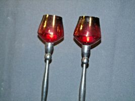 Red Cut Glass Candlestick Holders AB 312 Vintage image 4
