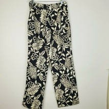 Womens Hawaiian Print Style Hibiscus Floral Black Cream Lined Dress Pant... - $20.51