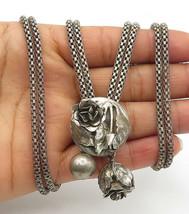 DANECRAFT 925 Silver - Vintage Sculpted Rose Snake Link Chain Necklace - N2710 - $173.82