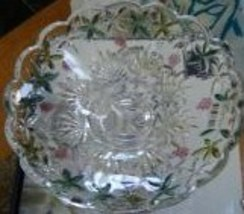 "MIKASA CRYSTAL FOOTED BOWL MADE IN GERMANY CLEAR 11"" DIAMETER FLORAL MUL... - $64.45"