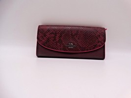 COACH Oxblood MULTI EXOTIC TRIM LEATHER SLIM ENVELOPE WALLET 11928 New - $94.05