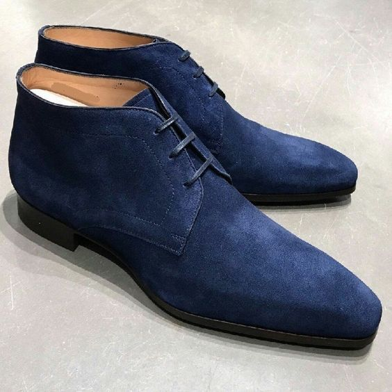 Handmade Men Blue Suede Dress/Formal Chukka Boots