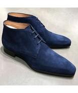 Handmade Men Blue Suede Dress/Formal Chukka Boots - $149.99