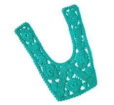 1 pc Deep Tropic Green Cotton Crochet Lace Patch Neckline Collar Motif A... - $4.99
