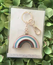 LC Lauren Conrad Rainbow Rose Gold Key Ring Keychain Bag Charm Snap Clip... - $12.86