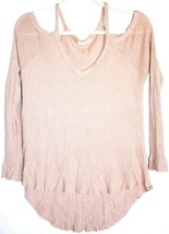PacSun LA Hearts Pink Easy Cold Shoulder V-Neck Pullover Sweater Size S