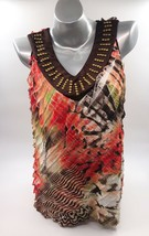 Notations Sleeveless Top Size Large Red Brown Beaded V Neck Tiered Womens - $12.67