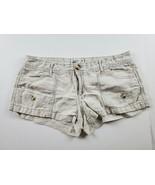 American Eagle Womens Shorts Sz 6 Linen Blend Beige Khaki Mini Booty Cas... - $19.30