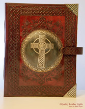 Holy Celtic Cross Handmade Leather Book Of Shadows Journal Handcrafted W... - $450.00