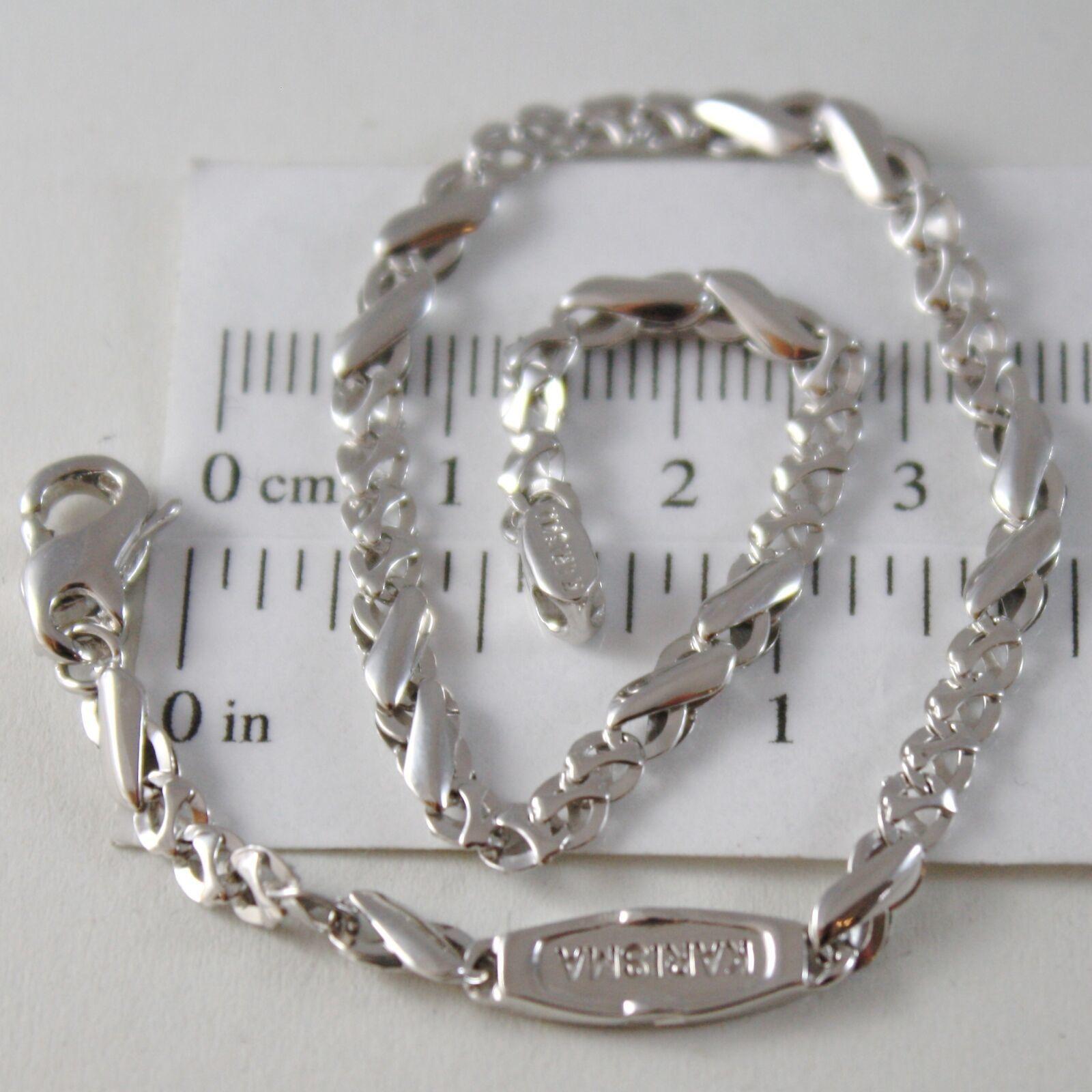 Armband aus Weißgold 750 18K, Jersey Bone Abwechselnde A Onda, Infinito, 21 CM
