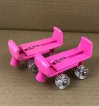 """Doll Pink Roller Skates Over Shoe Large Adjustable 3"""" - 5"""" - $6.78"""