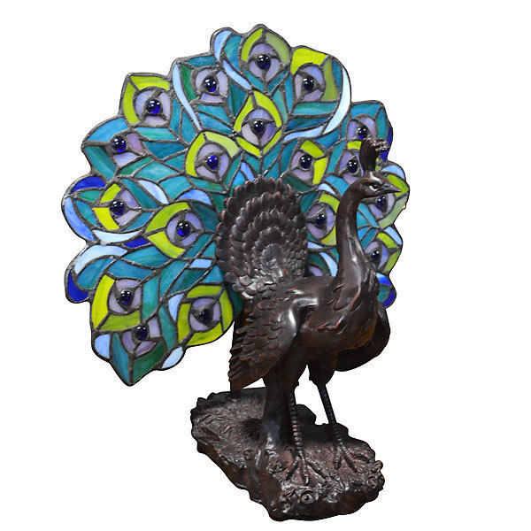 Tiffany Style Peacock  Fan Resin Table Lamp 13'' x 14''H