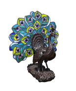 Tiffany Style Peacock  Fan Resin Table Lamp 13'' x 14''H - $123.75