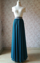 Chiffon Bridesmaid Maxi Skirt High Waist Chiffon Maxi Skirt Teal blue Plus Size image 4