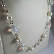 .925 RHODIUM SILVER NECKLACE, CRYSTALS, WHITE PEARLS, BROWN LITTLE PEARLS. image 2