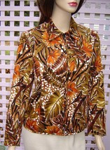 LAURA ASHLEY Exotic Autumn Floral Zip Front Stretch Cotton Jacket (PM) NEW - $19.50