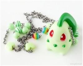 Chicorita Pokemon Necklace, Mint Green, Stainless Steel, Beaded Chain, G... - $28.00