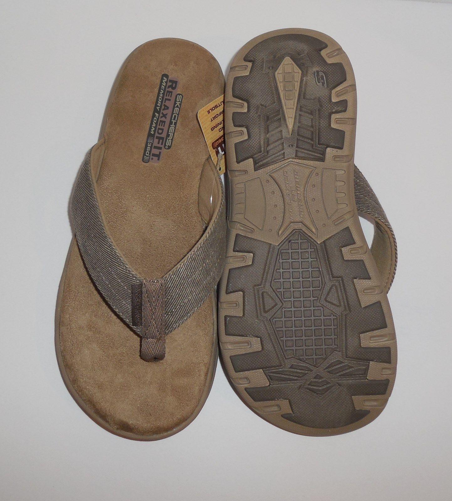 495fbfe1 Mens Size 8 SKECHERS Evented Rosen Flip Flops Thong Sandals Khaki 65090 New
