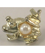 Nemo Brand Frog Gold Colored Metal with Imitation Pearl Tie Tack or Hat ... - $12.50