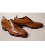 Mens Brown Leather Oxfords Captoe Formal Lace Up Shoes - $156.73