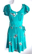 American Eagle  Size S  Cabana Green Floral Crepe/Viscose Preppy Dress - $12.19
