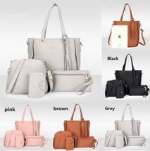 Xmas Fashion 4pcs Women Leather Handbag Lady Shoulder Bags Tote Purse Messenger