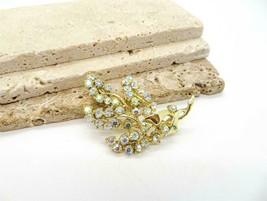 Vintage Signed BSK Sparkling AB Rhinestone Gold Floral Spray Brooch Pin ZZ20 - $19.99