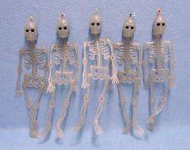 Lot of Five 10 Inch Hanging Skeletons  Indoor or Outdoor Halloween Decor... - £7.05 GBP