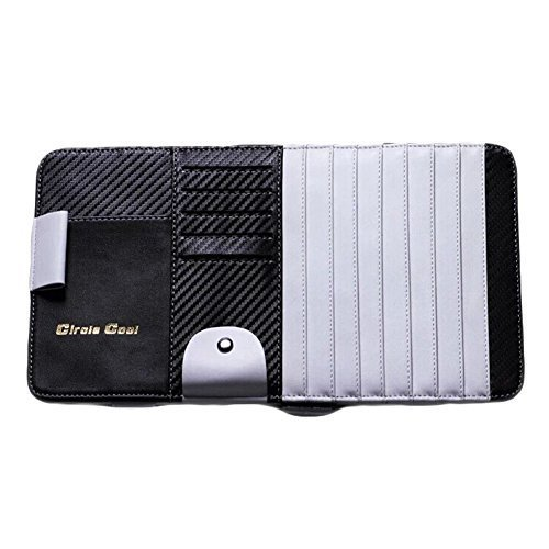 Carbon Fiber Multi-functions CD Visor CD Holder/organizer for Car (Black/White)