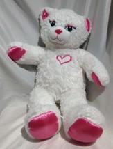 "Build a Bear white sparkle Sassy kitty Cat Kitten 20"" pink Heart paws no... - $12.19"