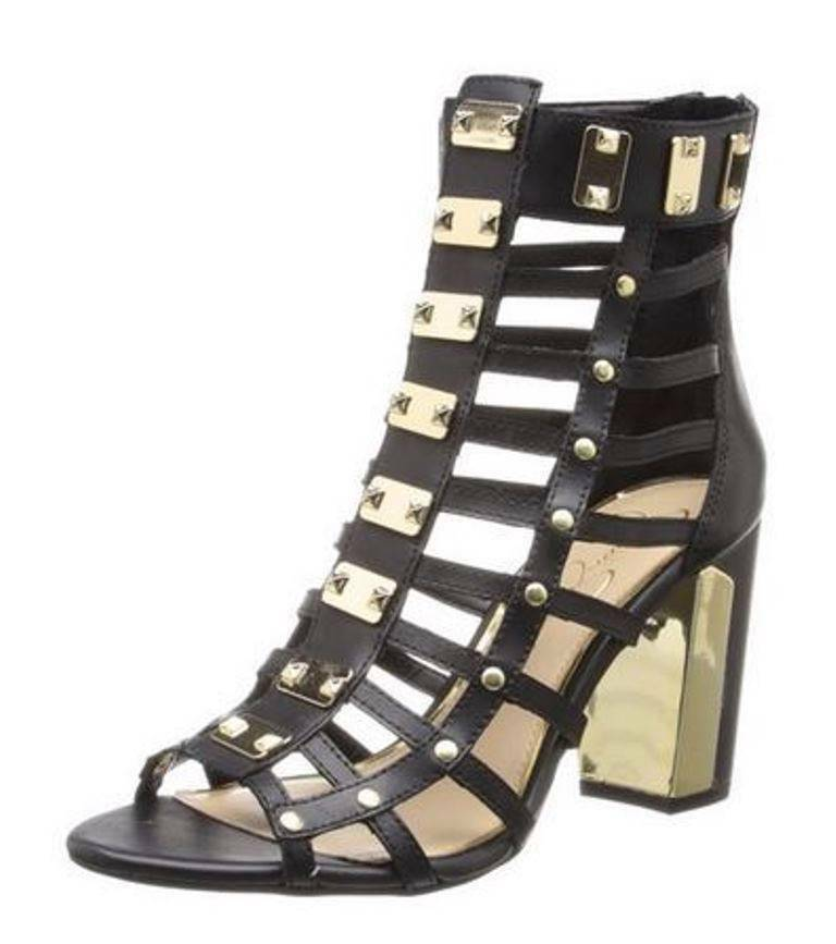 Primary image for Women's Jessica Simpson JUSTINAH Gladiator Heels Sandals Leather Black US 5.0 35