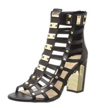 Women's Jessica Simpson JUSTINAH Gladiator Heels Sandals Leather Black U... - $69.29