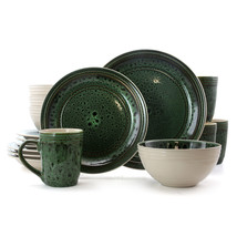 Elama Blue Jade 16 Piece Luxurious Stoneware Dinnerware with Complete Se... - $87.28