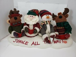 Christmas Jingle Bell Singers Plush Musical Santa Reindeer Snowman Carolers - $12.78