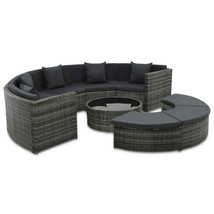 vidaXL Outdoor Sofa Set 25 Piece Poly Rattan Wicker Gray Patio Day Loung... - $756.99