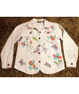 TRENDY HIPPIE WHITE DENIM JACKET LONG SLEEVE FLOWER EMBROIDERY BEADS POC... - $16.99