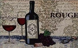 "Set of 4 Tapestry Placemats,13""x19"",WINE & GRAPES, BOTTLE & 2 GLASSES, R... - $19.79"
