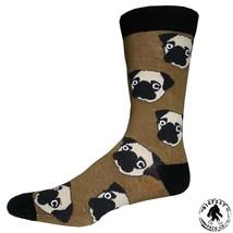 PUG Socks Fun Novelty One Size Fits Most Dress Casual Big Foot Dog Tan U... - $12.49