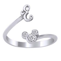 Mickey Mouse Disney Initial E Ring Round Cut Diamond White Gold Over 925 Silver - $23.89
