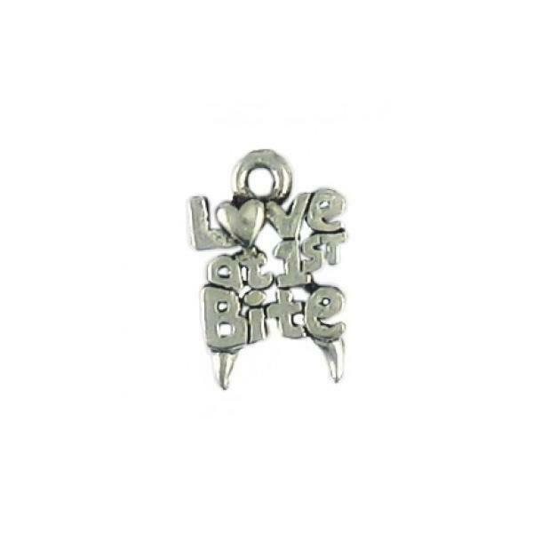 LOVE AT FIRST BITE VAMPIRE FINE PEWTER CHARM PENDANT - 16mm  x 11mm x 2mm