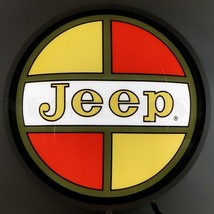 New round backlit retro style JEEP game room car garage lighted sign Fas... - $139.00